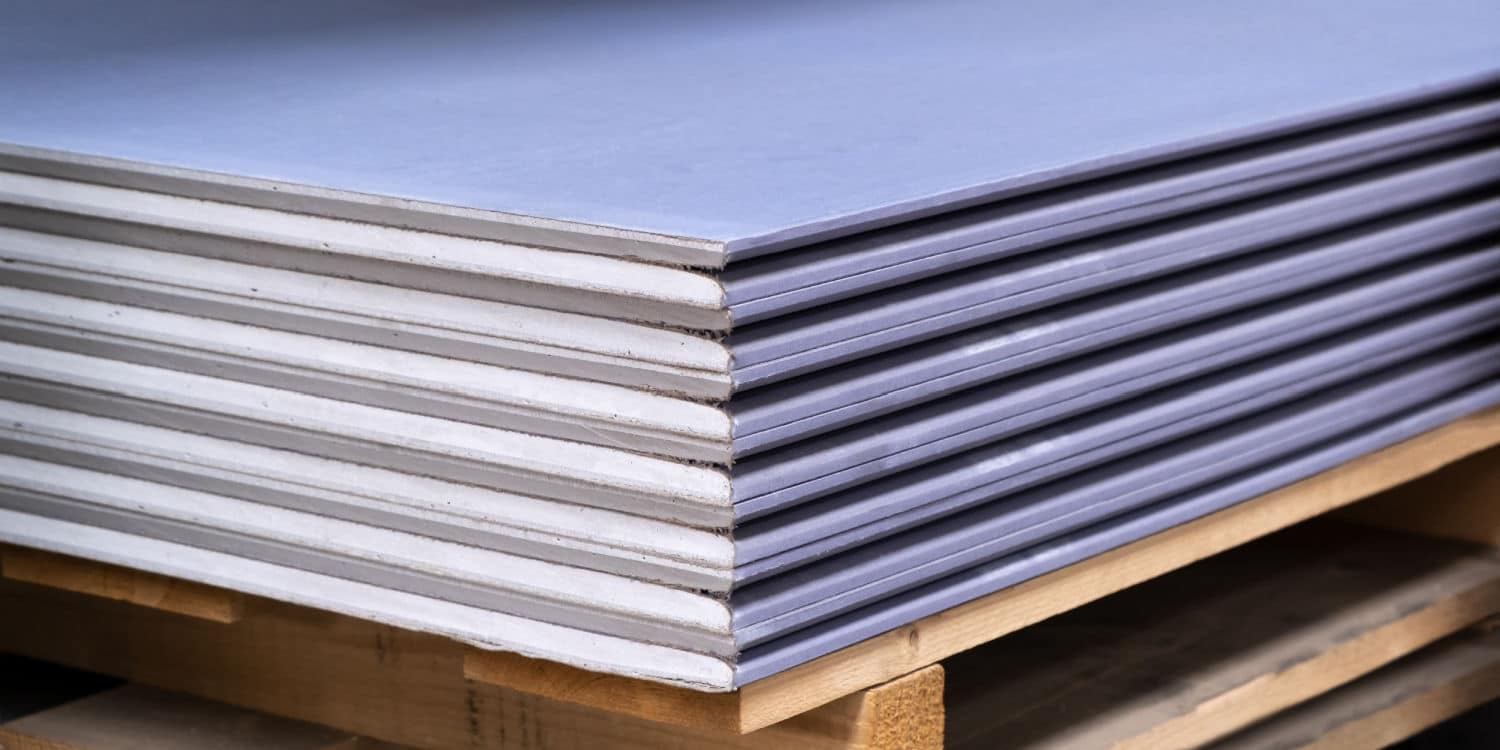 Panels of Soundproofing Drywall in a stack