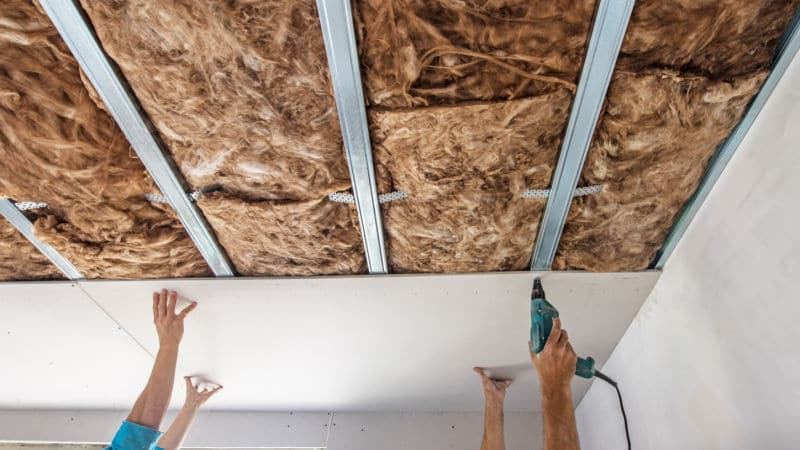 Soundproofing a Ceiling with Drywall and Acoustic insulation
